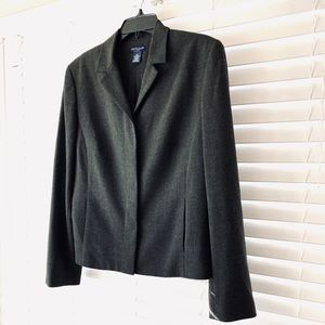 Ann Taylor Charcoal Gray Concealed Placket Blazer